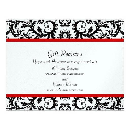 Black Damask Red Trim Gift Registry Wedding Custom Announcements