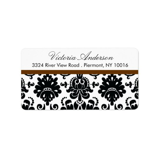 Black Damask Return Address Labels.