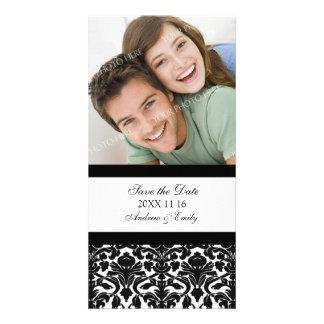 Black Damask Save the Date Wedding Photo Cards