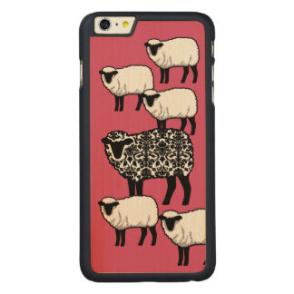 Black Damask Sheep Carved Maple iPhone 6 Plus Case