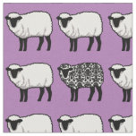 Black Damask Sheep on Purple Fabric