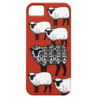 Black Damask Sheep on Red iPhone 5 Covers