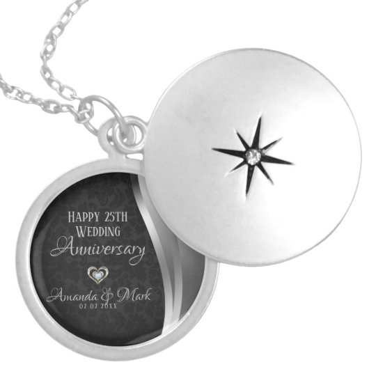 Black Damask Silver Satin- Anniversary Locket Necklace