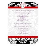 "Black Damask Swirls Red Trim Purple Font Wedding 5"" X 7"" Invitation Card"