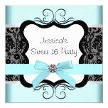 "Black Damask Teal Black Sweet 16 Birthday Party 5.25"" Square Invitation Card"