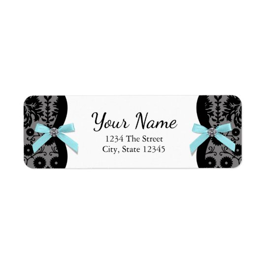 Black Damask Teal Blue Bow Return Address Labels
