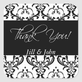 Black Damask Thank You Wedding Favour Stickers