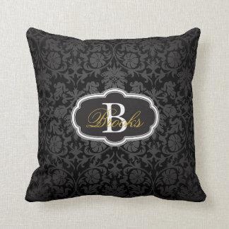 Black Damask Throw Pillow