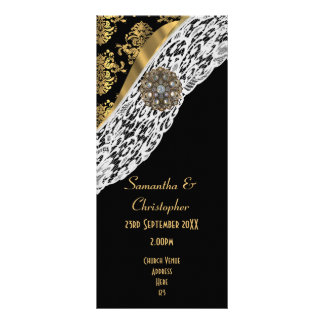 Black damask white lace church wedding program