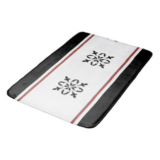 Black damask with a touch of tan color bath mat