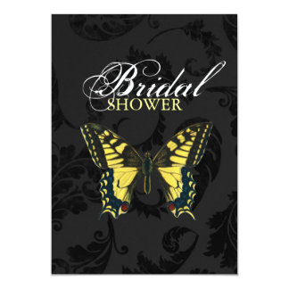 Black damask Yellow Butterfly bridal shower 5x7 Paper Invitation Card