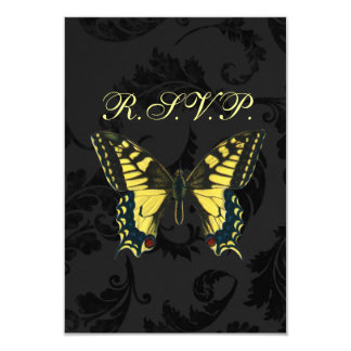 Black damask Yellow Butterfly Wedding RSVP Custom Announcements