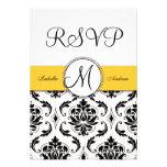 Black Damask Yellow Wedding RSVP Invite