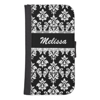 Black Damask Your Name Samsung S4 Wallet Case