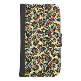 Black Damasks & Colorful Leafs Collage Pattern Phone Wallet Cases