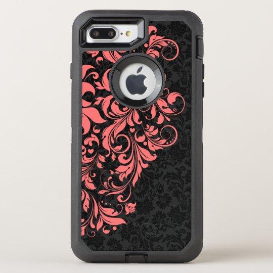 Black Damasks & Coral Red Floral Lace OtterBox Defender iPhone 7 Plus Case