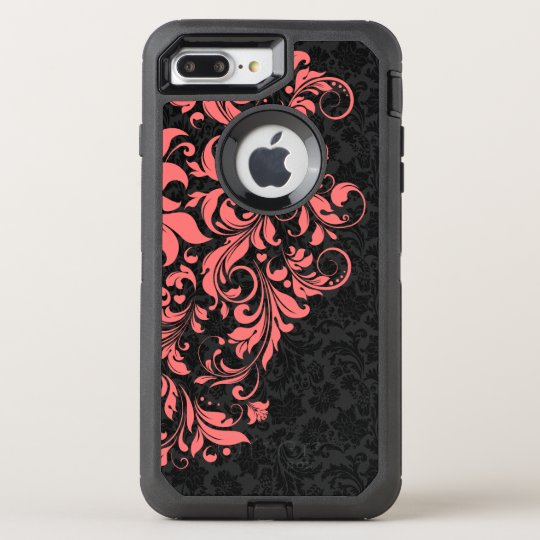 Black Damasks & Coral Red Floral Lace OtterBox Defender iPhone 8 Plus/7 Plus Case