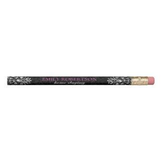 Black Damasks Silver Metallic Lace Pencil