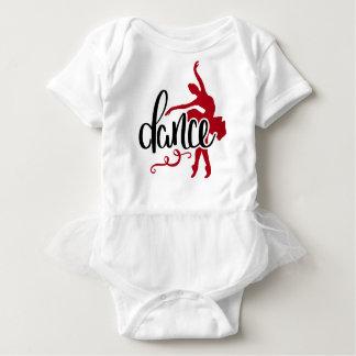 Black Dance / Dark Red Pointe Ballet Dancer Baby Bodysuit