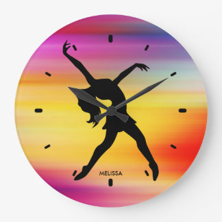 Black Dancer Silhouette On Abstract Background Large Clock