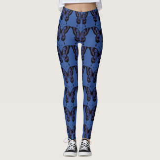 Black & Dark Blue Prismatic Butterfly Leggings
