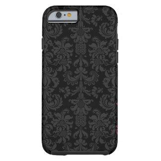 Black & Dark Gray Vintage Floral Damasks Tough iPhone 6 Case