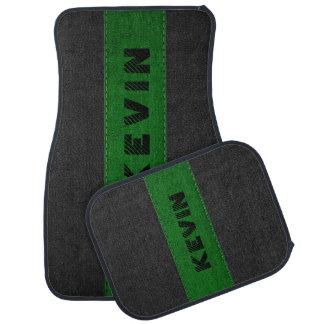 Black & Dark Green Stitched Leather Monogram Floor Mat