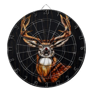 Black Dark Wooden Wood Deer Rustic Country Unique Dartboard