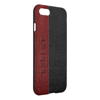 Black & DarkRed Vintage Stitched Faux Leather iPhone 8/7 Case