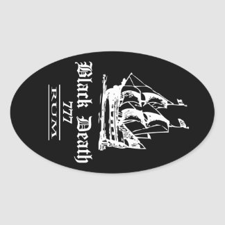 Black Death 777 - Ol Ships Rum Oval Sticker