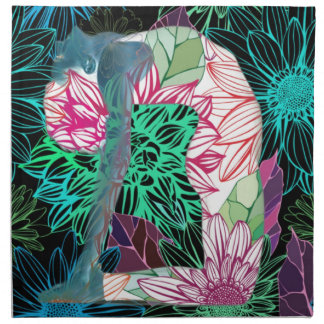 Black Deco Floral Yoga Series Napkin