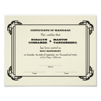 Black Deco frame keepsake wedding certificate ecru Poster