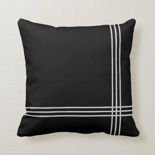 Black Deco White Stripe Throw Pillow