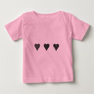 Black Decorative Hearts Baby T-Shirt