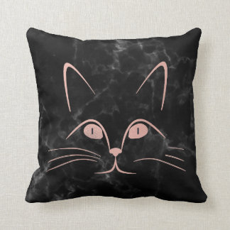 Black Deep Pink Rose Blush Glam Cat Marble Throw Pillow