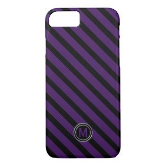 Black & Deep Purple Diagonal Stripe Monogram iPhone 8/7 Case
