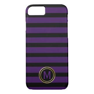 Black & Deep Purple Stripe Monogram iPhone 8/7 Case