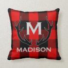 Black Deer Antlers Monogram Red Buffalo Check Throw Pillow