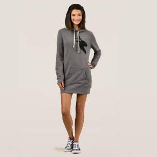 Black deer grey Women's Hoodie Dress
