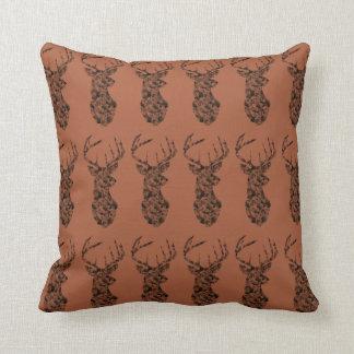 Black Deer w/ brown bkg Pillow