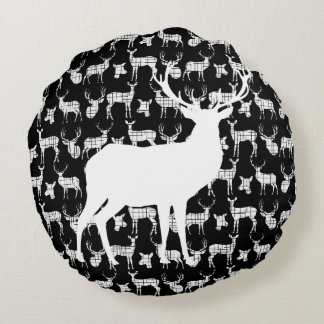 Black Deer With White Buck and Doe Round Pillow
