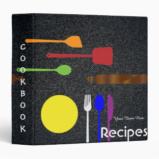 Black Denim Kitchen utensils recipe binder book
