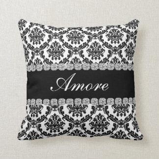 BLACK DESIGN DAMASK   Bling Look Pillow AMORE Gift