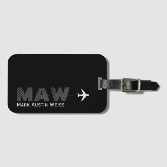 black design with traveller name/initials bag tag