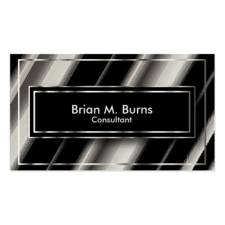 Black Diagonal Abstract & Metallic Silver Business Card