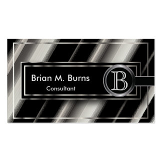 Black Diagonal Abstract & Metallic Silver Monogram Pack Of Standard Business Cards