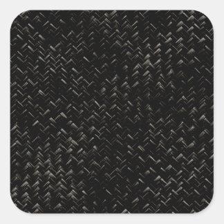 Black Diagonal Basket Weave Geometric Pattern Square Sticker