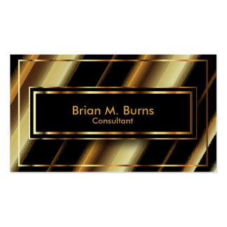 Black Diagonal Stripes and Metallic Gold Lines Business Card