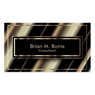 Black Diagonal Stripes and Metallic Light Gold Business Card