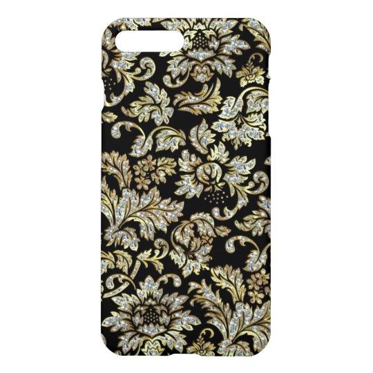 Black Diamond And Gold Floral Damasks Pattern iPhone 7 Plus Case